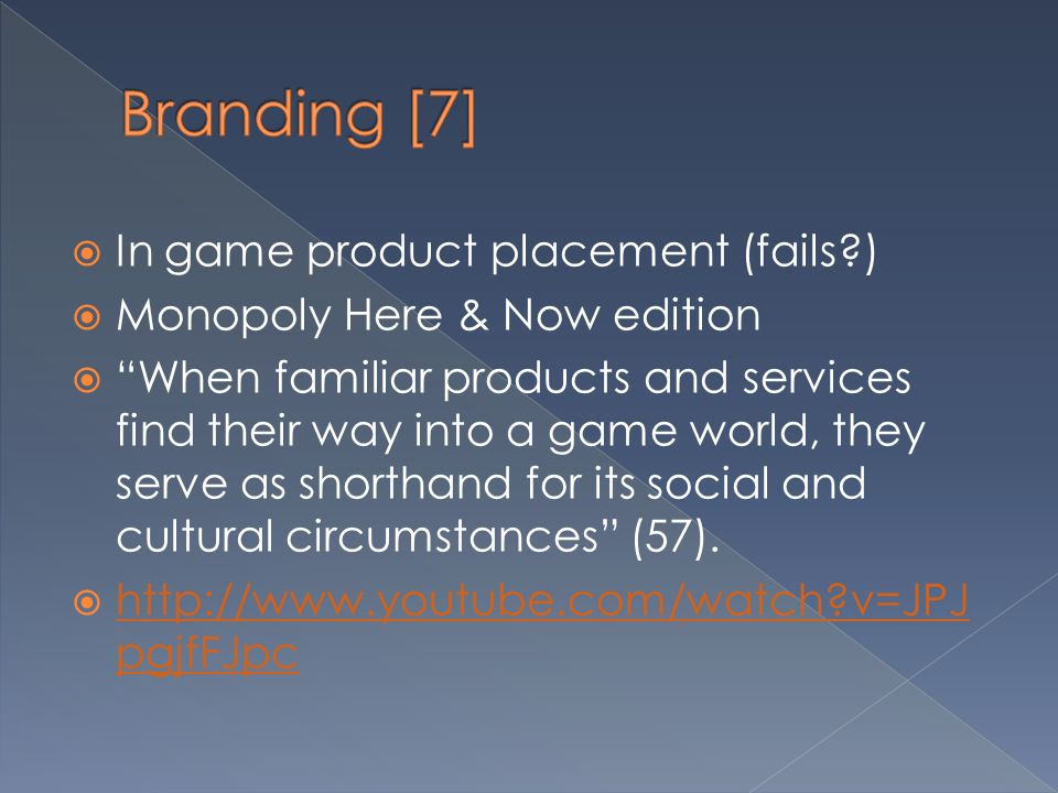 Branding [7] In game product placement (fails )
